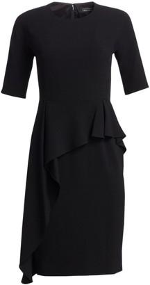 Teri Jon By Rickie Freeman Asymmetric Ruffle Sheath Dress