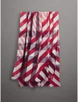 Burberry Check and Stripe Modal Cashmere Silk Scarf