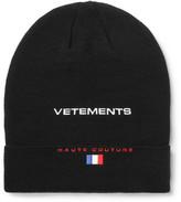 Vetements + Reebok Embroidered Wool Beanie - Black