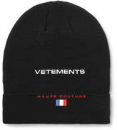 Vetements Reebok Embroidered Wool Beanie