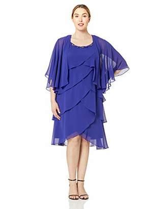 SL Fashions Women's Plus Size Chiffon Tier Jacket Dress with Bead Neck