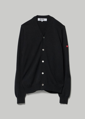 Comme des Garcons Men's Small Red Heart Sleeve Cardigan Sweater in Black 100% Wool