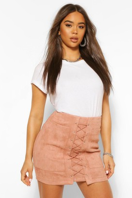 boohoo Suedette Lace Up Front Mini Skirt