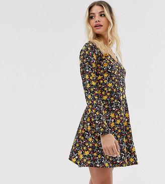 Wednesday's Girl long sleeve tea dress in vintage floral-Black