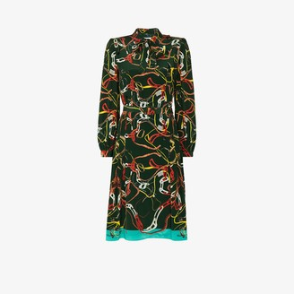 Maison Margiela Printed Silk Midi Dress