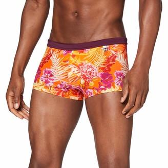 Hom Men - Swim Shorts 'Equatorial Swimwear with Flower Print - Orange - L