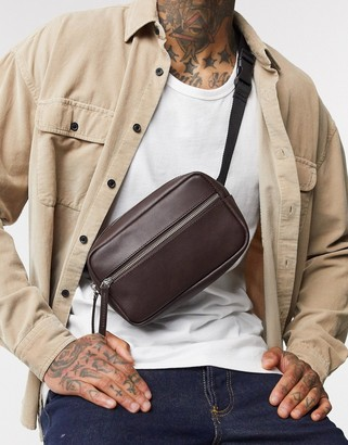 Asos DESIGN cross body fanny pack in brown real leather