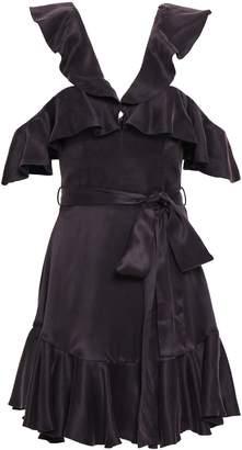 Zimmermann Cold-shoulder Ruffled Silk-satin Mini Dress
