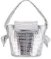 Nancy Gonzalez Bucket Tie Flap-Top Crocodile Bag, Silver