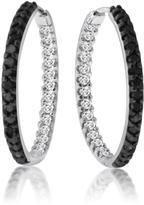 Ice 1.00 CT TDW Black and White Diamond 10K White Gold Hoop Earrings