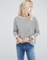 Asos Top with Long Sleeve in Baby Loopback Stripe