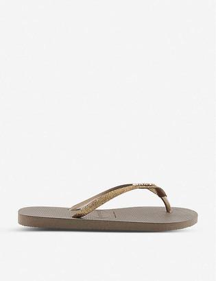 Havaianas Slim glittered flip flops