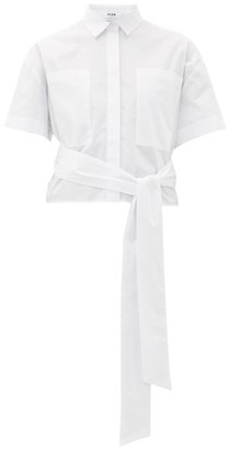 MSGM Waist Tie Cotton-poplin Shirt - White