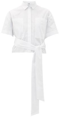MSGM Waist Tie Cotton-poplin Shirt - Womens - White