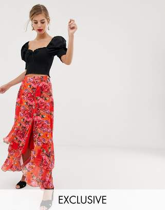 Dusty Daze maxi skirt with thigh split in floral-Red