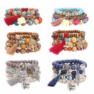YADOCA 6 Sets Bohemian Wood Beaded Bracelets Set for Women Multilayer Stretch Tassel Bracelets Set Tree of Life Elephant Charm Love Statement Bangles