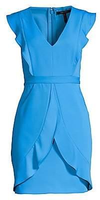 BCBGMAXAZRIA Women's Ruffled Cap Sleeve Mini Sheath Dress - Size 0