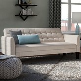 """BEIGE Tynemouth 63"""" Round Arm Sofa Bed Ebern Designs Upholstery Material Linen"""