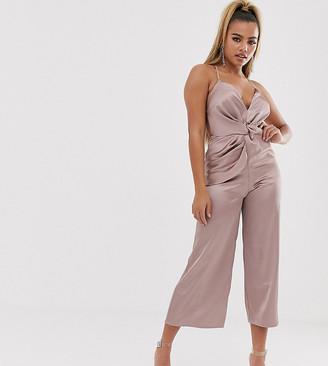 Asos DESIGN Petite twist knot front strappy satin jumpsuit