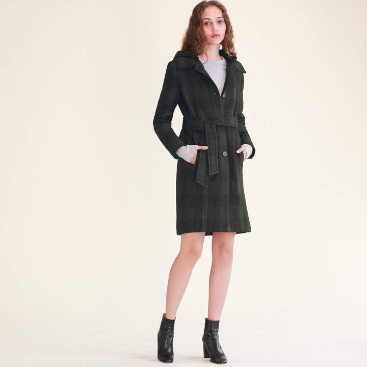 Maje Long checked coat