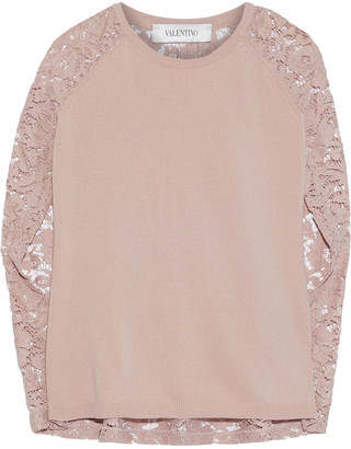 Valentino Corded Lace-paneled Ribbed Wool And Cashmere-blend Top