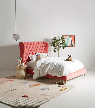 Anthropologie Tufted Wingback Bed By in