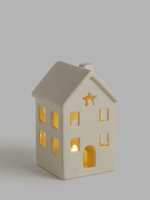 John Lewis & Partners Impressionism Battery Operated Ceramic House Christmas Lantern, White