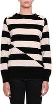 Tomas Maier Broken-Stripe Cashmere Crewneck Sweater