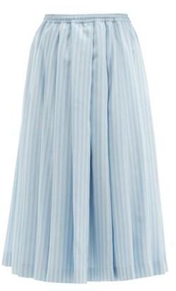 Zanini Reversible Pleated & Striped Silk Midi Skirt - Blue Stripe