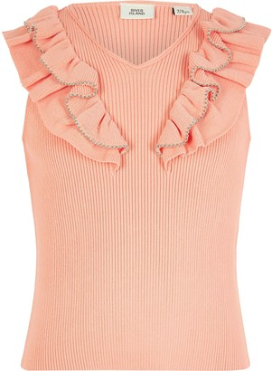 River Island Girls Orange beaded frill knitted top