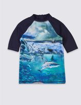Marks and Spencer Shark Print Rash Vest (3-14 Years)