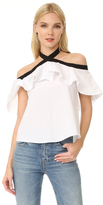 Alice + Olivia Alyssa Off Shoulder Halter Blouse