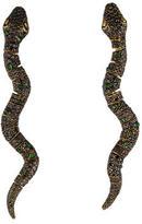 18K Black Diamond Snake Earrings