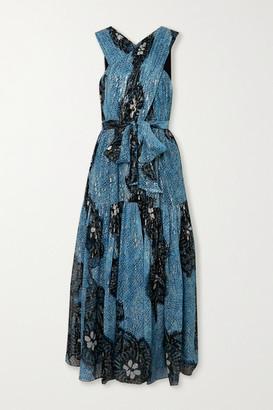 Ulla Johnson Adora Printed Fil Coupe Silk-chiffon Midi Dress - Blue
