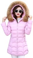 YOUJIA Women's Faux Fur Hooded Zip Up Parka Padded Thicken Winter Coat (, L)