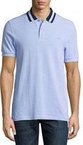 Fred Perry Oxford Bomber Piqué Polo Shirt, Light Blue