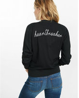 Express heartbreaker embroidered black bomber jacket