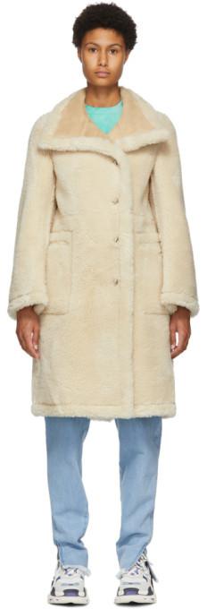 we11done Beige Shearling Faux-Fur Embossed Logo Long Coat