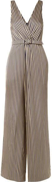 Jonathan Simkhai Wrap-effect Striped Sateen Jumpsuit - Midnight blue