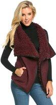 SOHO GLAM Draped Sleeveless Faux Fur Wool Vest in Black-M