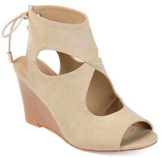 Brinley Co. Womens Faux Leather Open-toe Center-cut Wedges