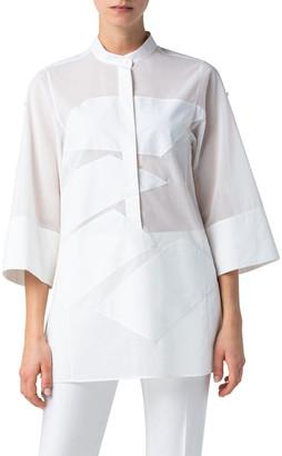 Akris Stitched Cotton Tunic Blouse