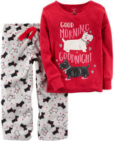 Carter's Girls 4-14 Graphic Top & Print Fleece Pants Pajama Set