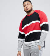 Asos DESIGN Plus longline oversized long sleeve t-shirt with bright color block