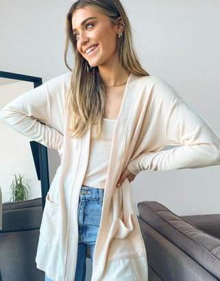 Pieces soft touch lounge wear cardigan co ord in beige