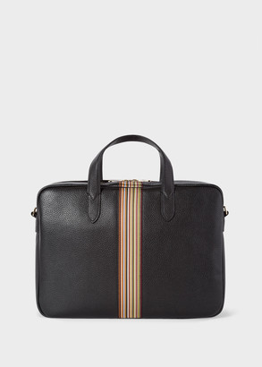 Paul Smith Men's Black Signature Stripe Slim Leather Business Folio