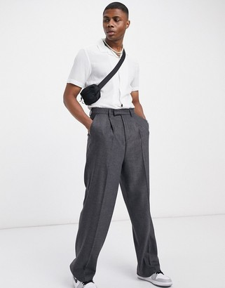 ASOS DESIGN high waist wool mix smart trousers with wide leg in charcoal