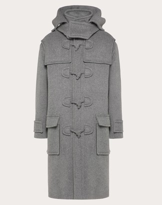 Valentino Double-layer Wool Pea Coat Man Light Grey Virgin Wool 75%, Polyamide 20%, Cashmere 5% 50
