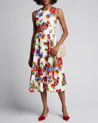 Carolina Herrera Floral-Print Sleeveless A-Line Dress