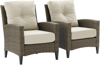 Crosley Rockport Outdoor Wicker 2Pc High Back Arm Chair Set Oatmeal/Light Brown - 2 Arm Chairs